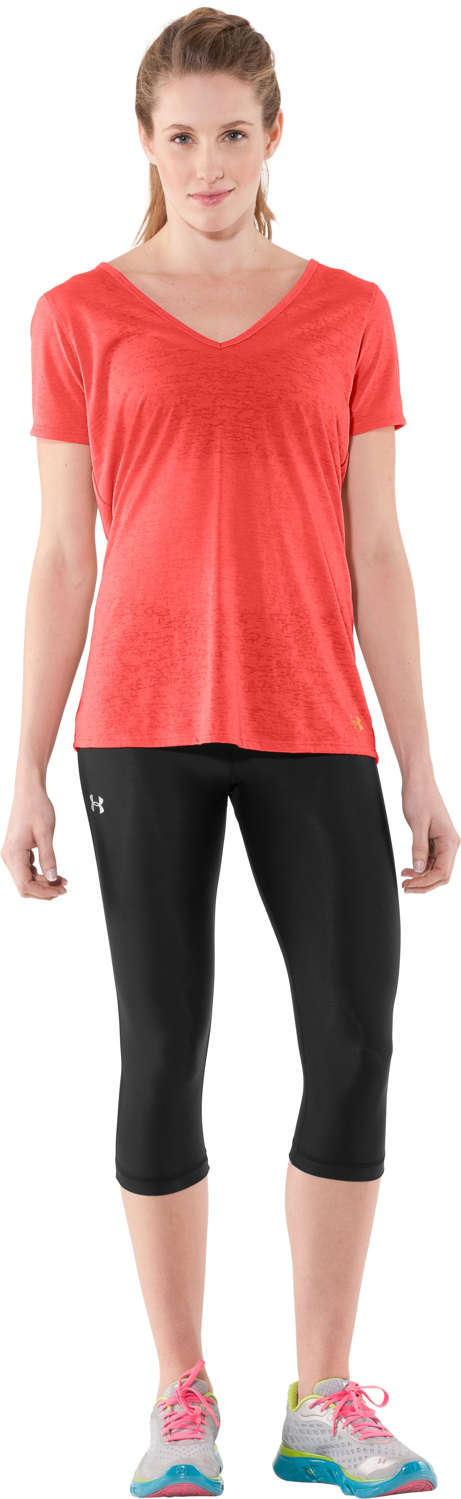 Women's Achieve Burnout T-Shirt, Fire, Front