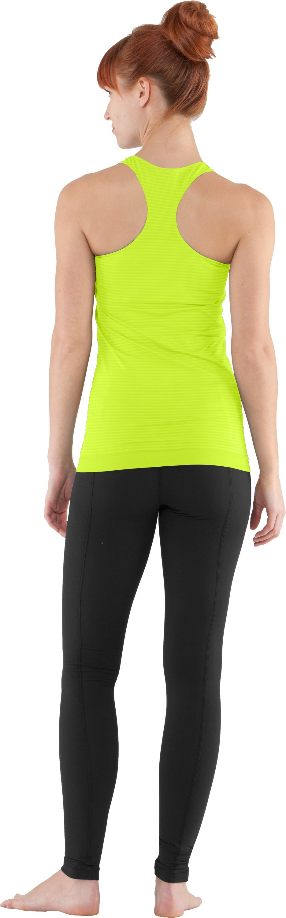 Women's UA Seamless Tank, High-Vis Yellow, Back