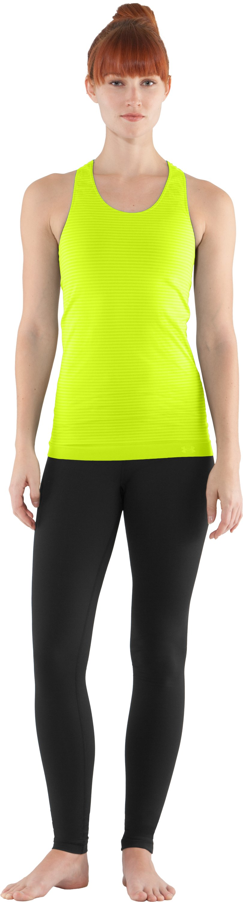 Women's UA Seamless Tank, High-Vis Yellow, Front