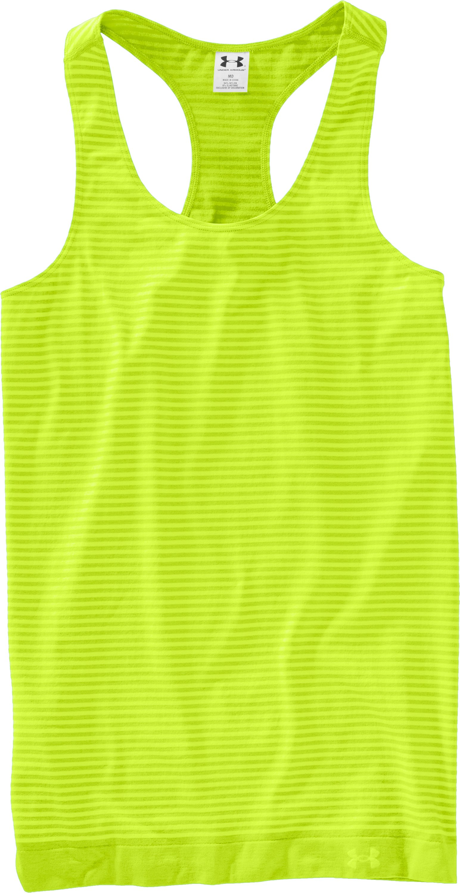 Women's UA Seamless Tank, High-Vis Yellow, Laydown