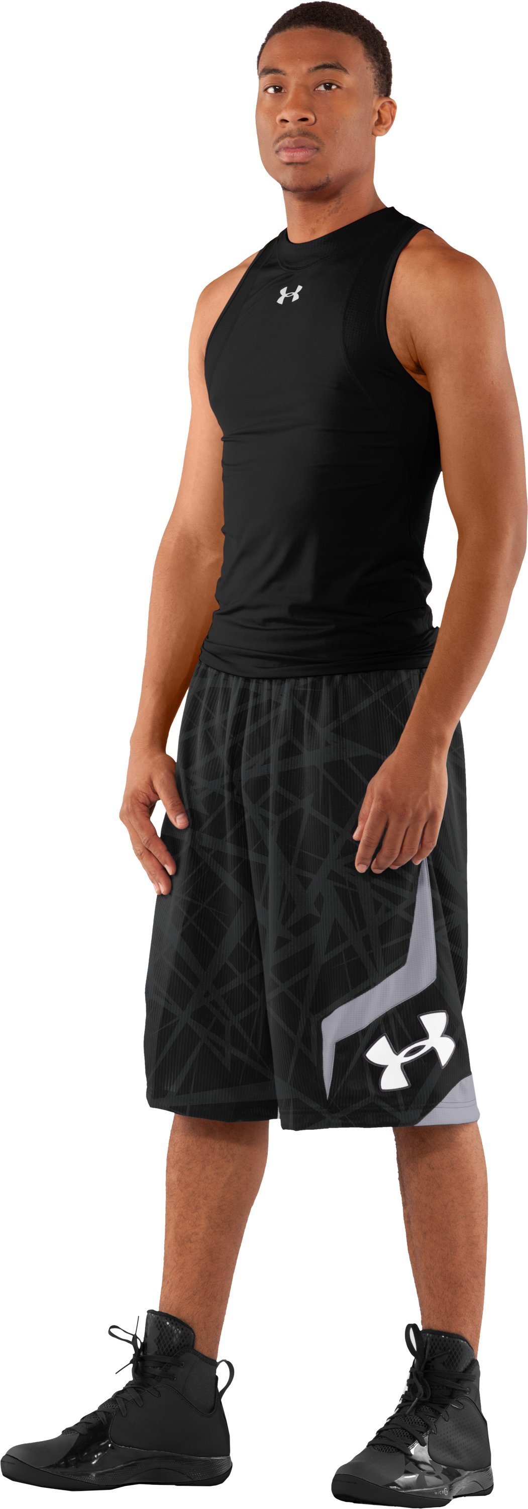 "Men's Printed UA Valkyrie 12"" Basketball Shorts, Black , Front"