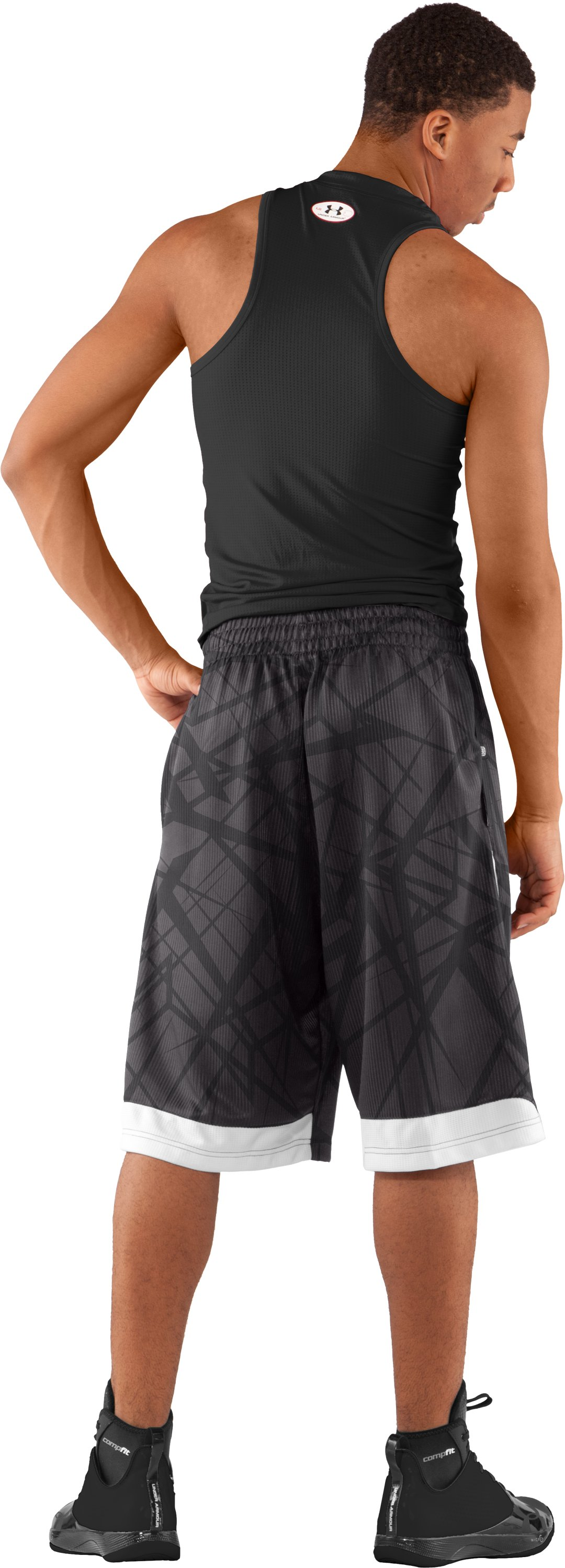 "Men's Printed UA Valkyrie 12"" Basketball Shorts, Charcoal, Back"