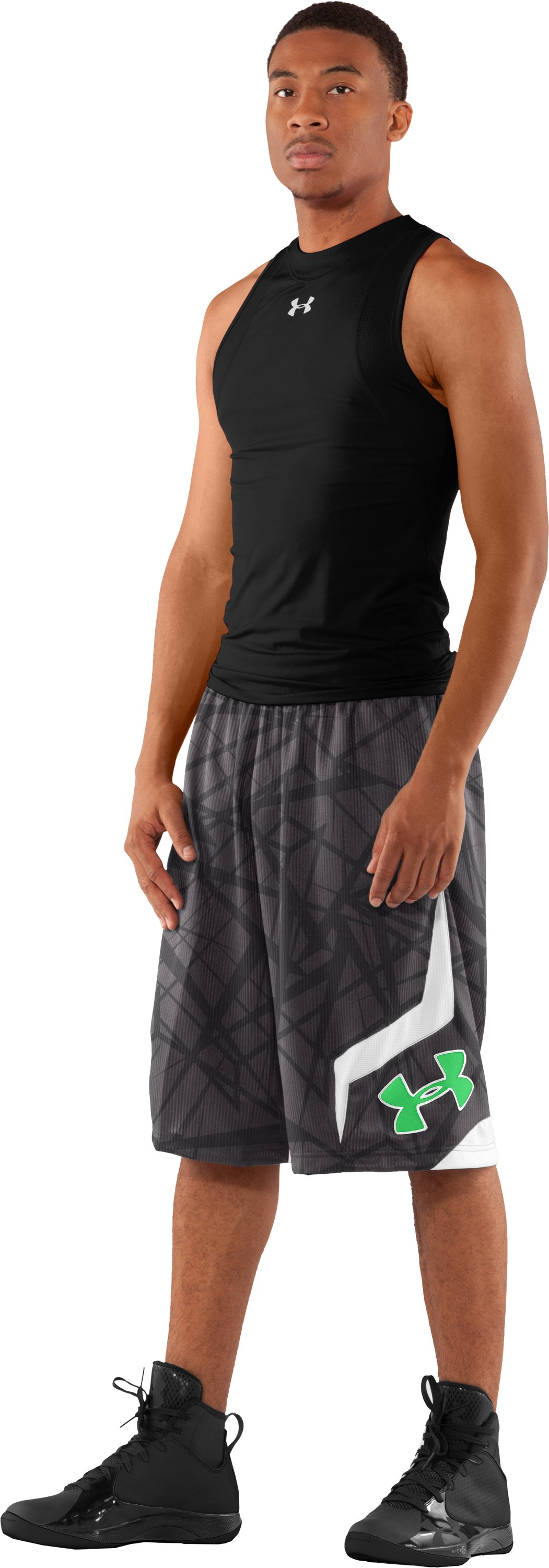 "Men's Printed UA Valkyrie 12"" Basketball Shorts, Charcoal, Front"