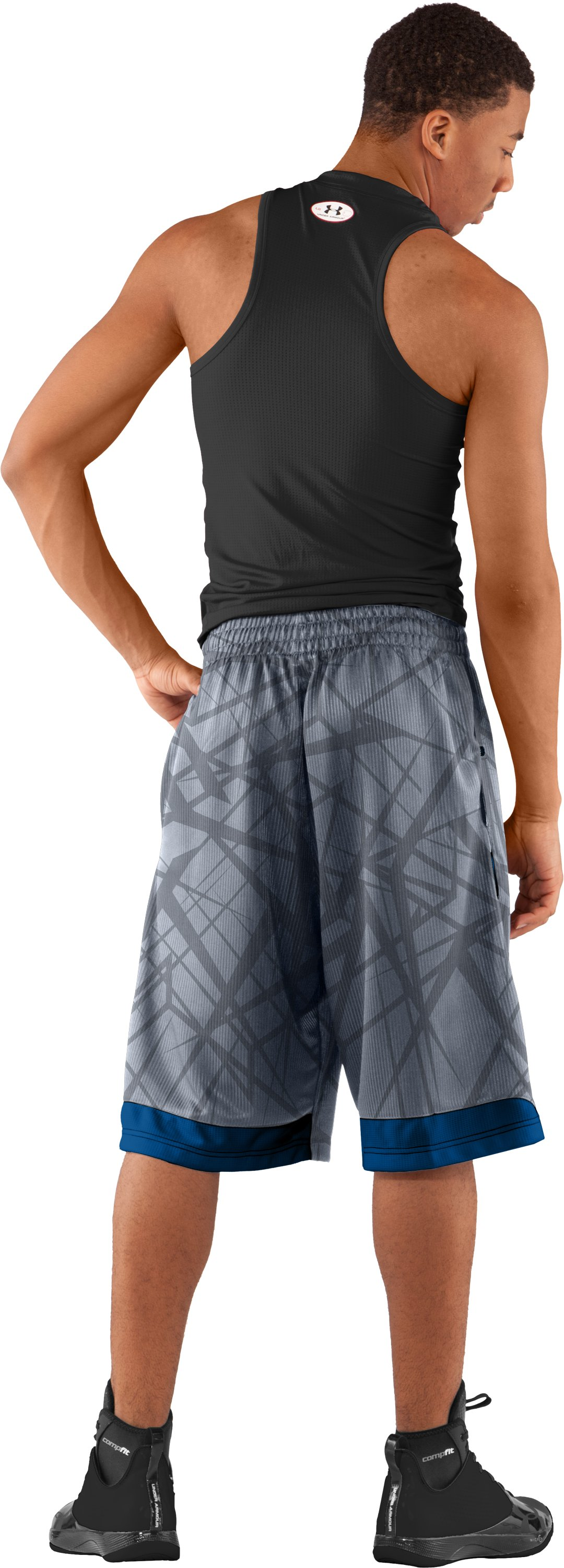 "Men's Printed UA Valkyrie 12"" Basketball Shorts, Steel, Back"