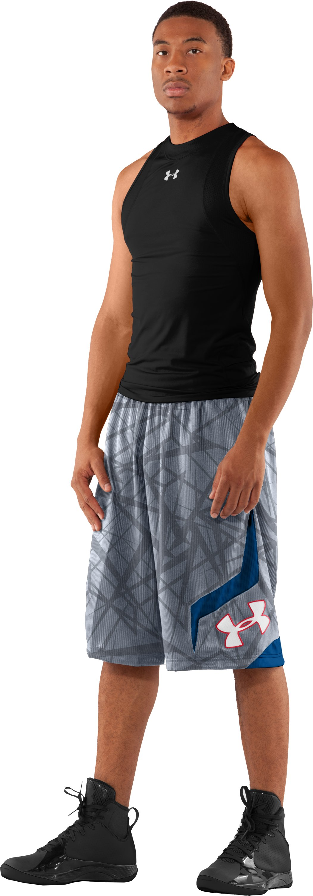 "Men's Printed UA Valkyrie 12"" Basketball Shorts, Steel, zoomed image"