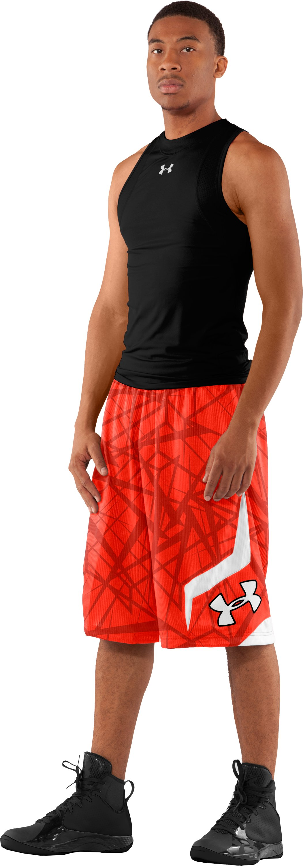 "Men's Printed UA Valkyrie 12"" Basketball Shorts, Fuego, zoomed image"