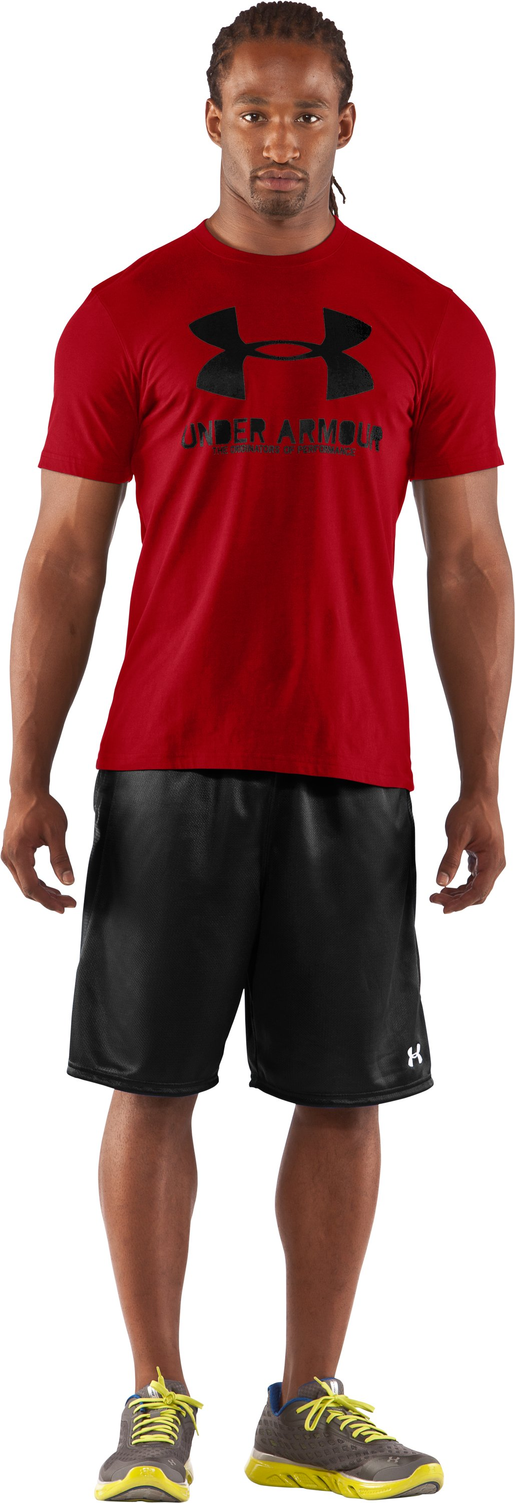Men's UA Sportstyle Logo T-Shirt, Red, zoomed image