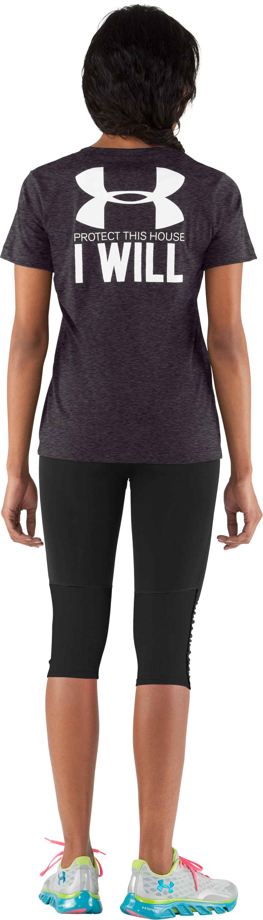 Women's UA PTH® I WILL® V-Neck, Carbon Heather, zoomed image