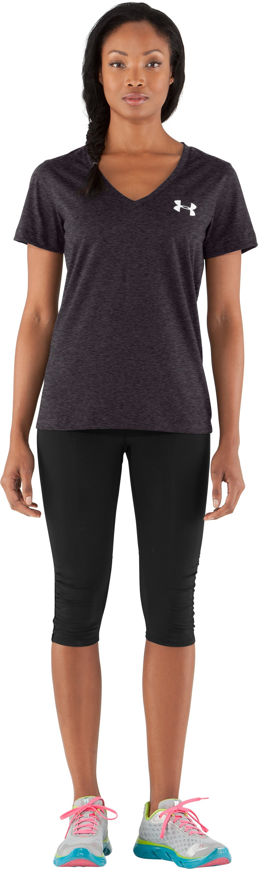 Women's UA PTH® I WILL® V-Neck, Carbon Heather, Front