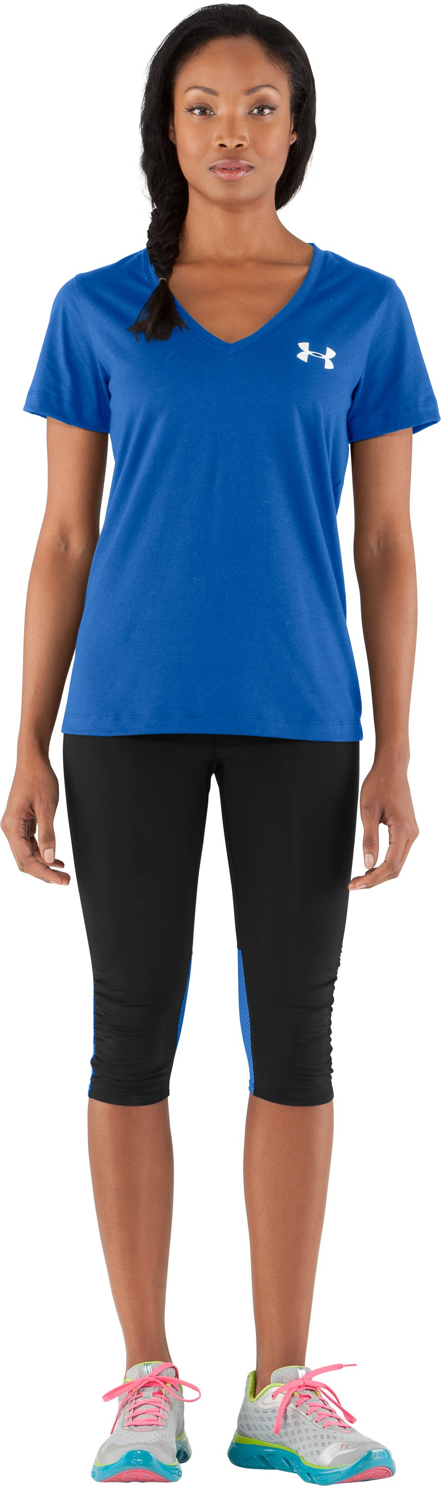 Women's UA PTH® I WILL® V-Neck, Water, Front