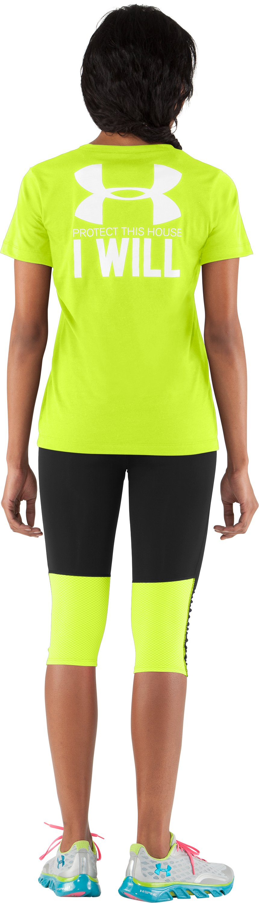 Women's UA PTH® I WILL® V-Neck, High-Vis Yellow, Back