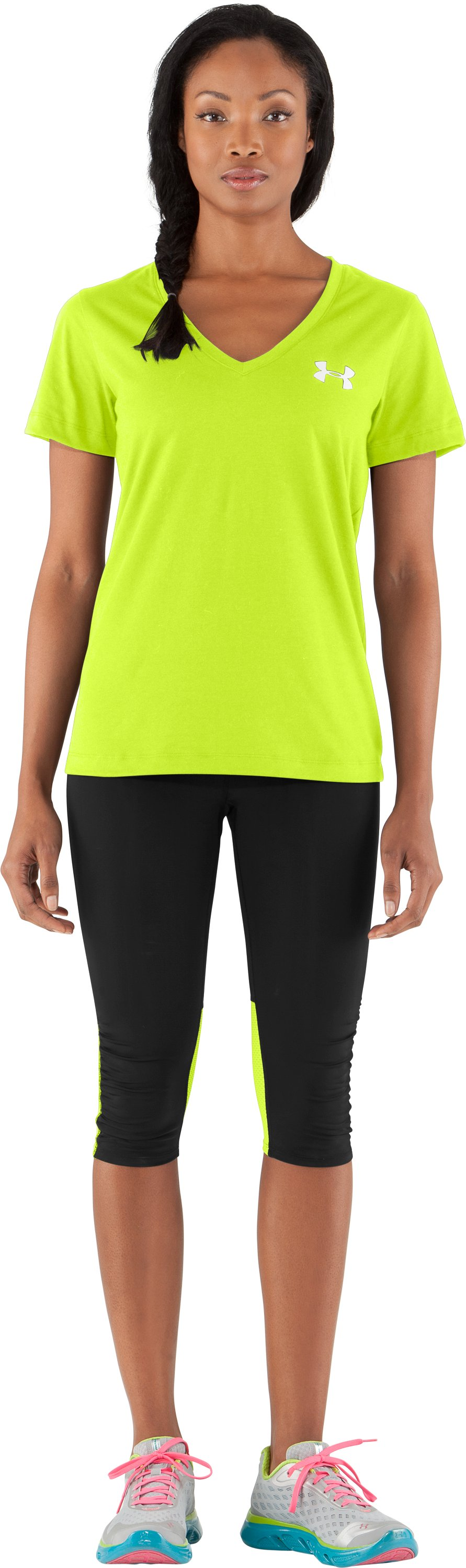 Women's UA PTH® I WILL® V-Neck, High-Vis Yellow, Front