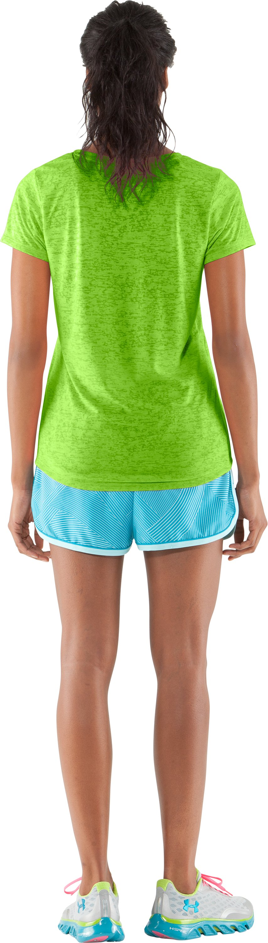 Women's UA Achieve Big Logo V-Neck, Poison, Back