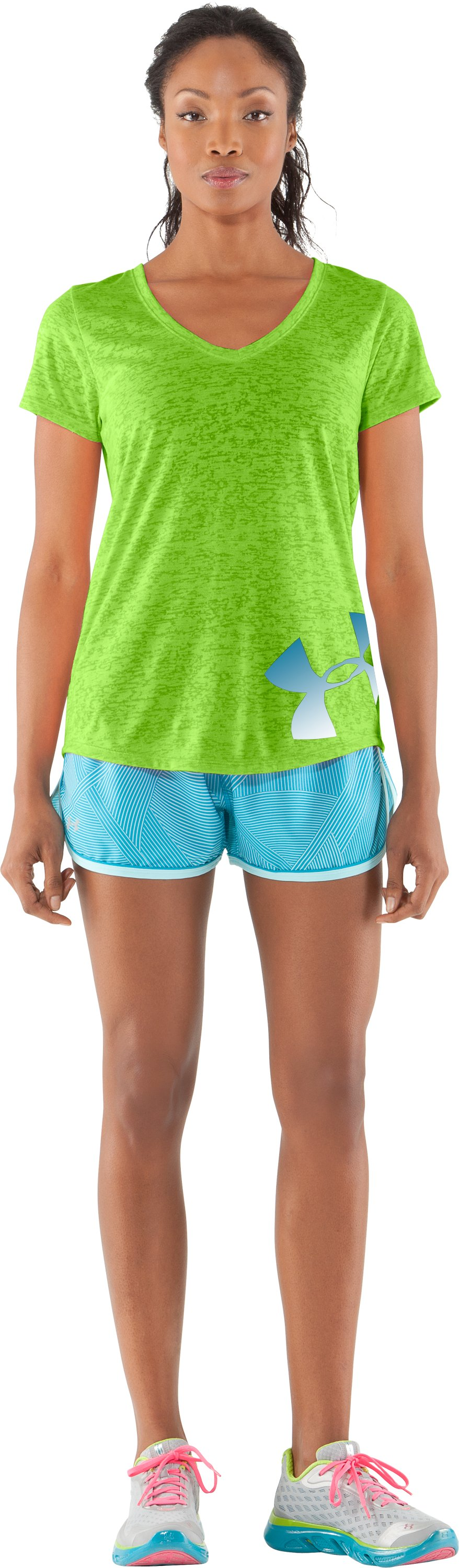 Women's UA Achieve Big Logo V-Neck, Poison, Front