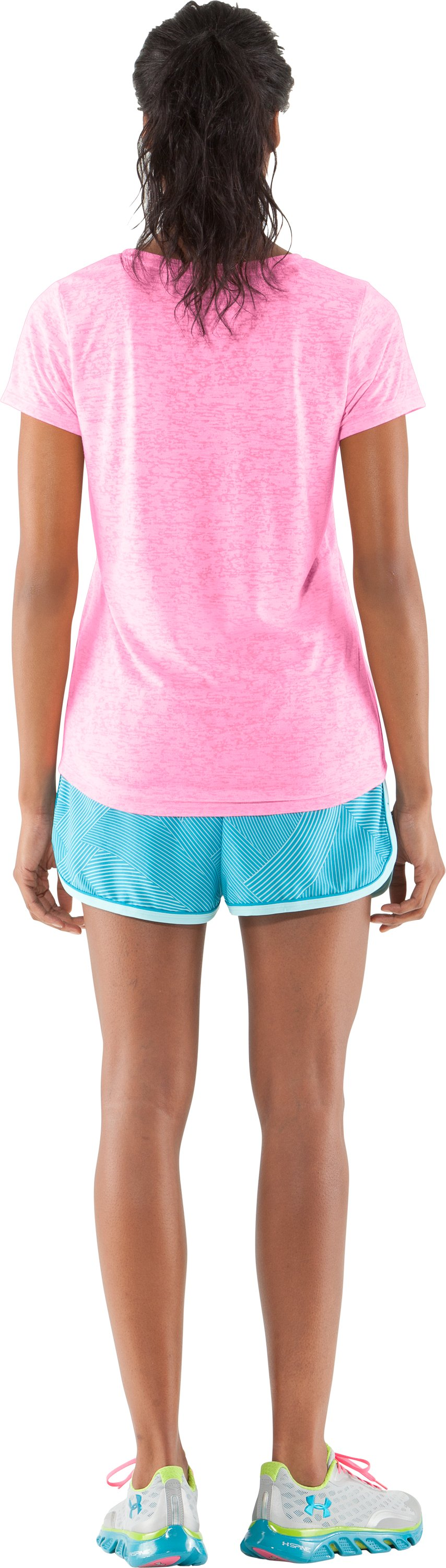 Women's UA Achieve Big Logo V-Neck, Fluo Pink, Back
