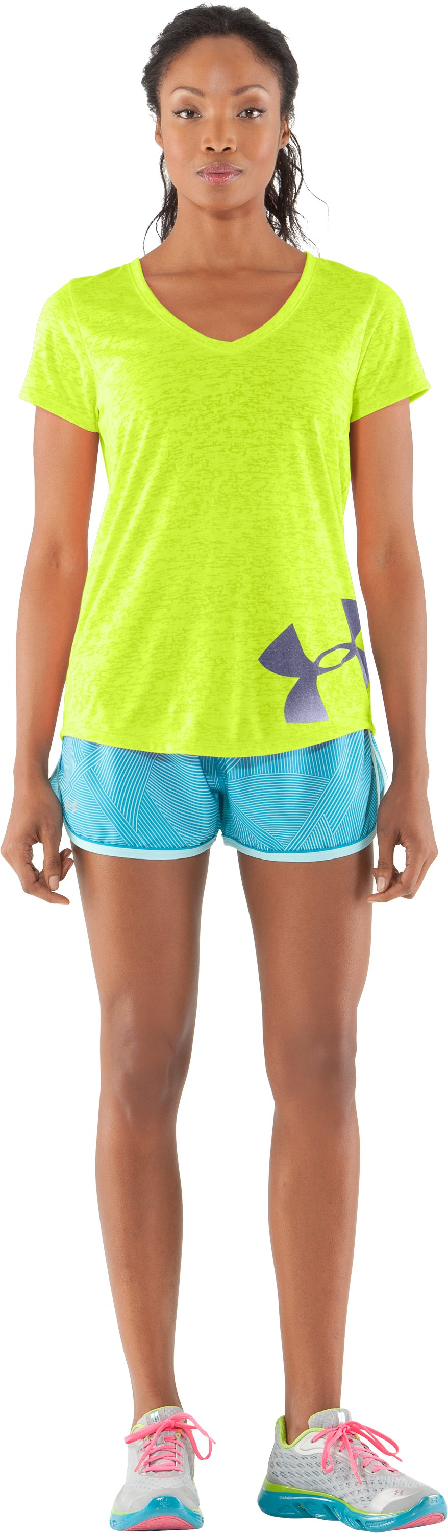 Women's UA Achieve Big Logo V-Neck, High-Vis Yellow, zoomed image