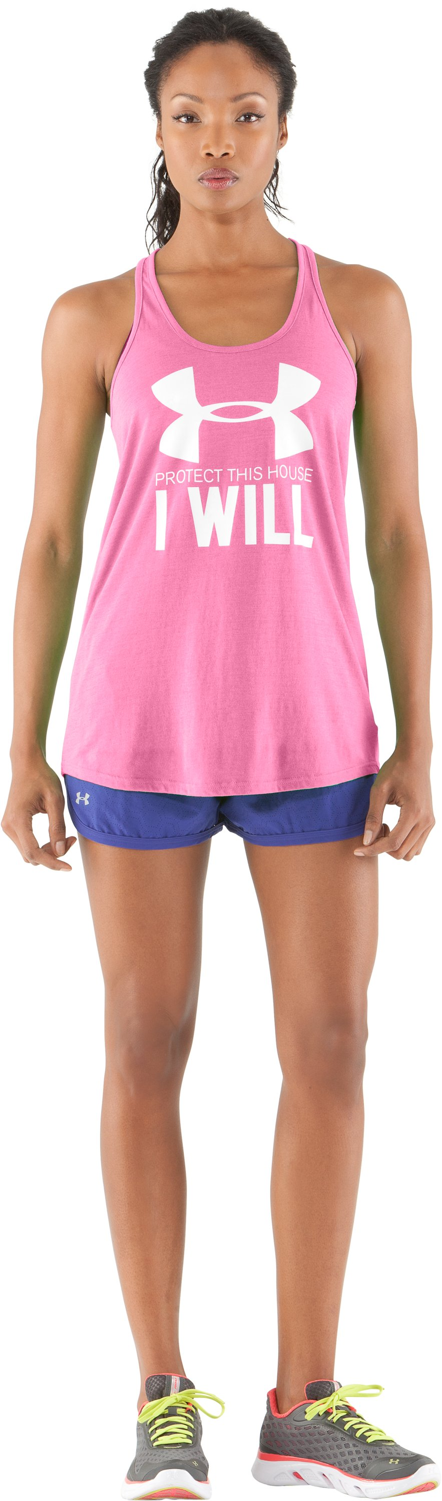 Women's UA Undeniable UV Tank, Fluo Pink, Front
