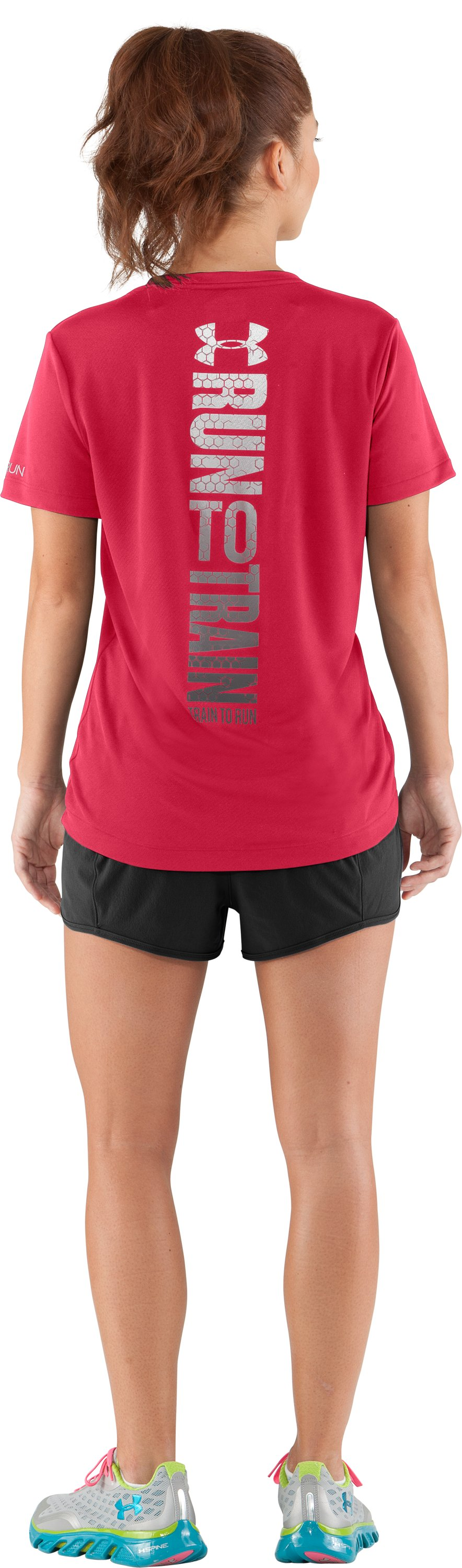 Women's UA Run To Train Graphic T-Shirt, Hibiscus, Back