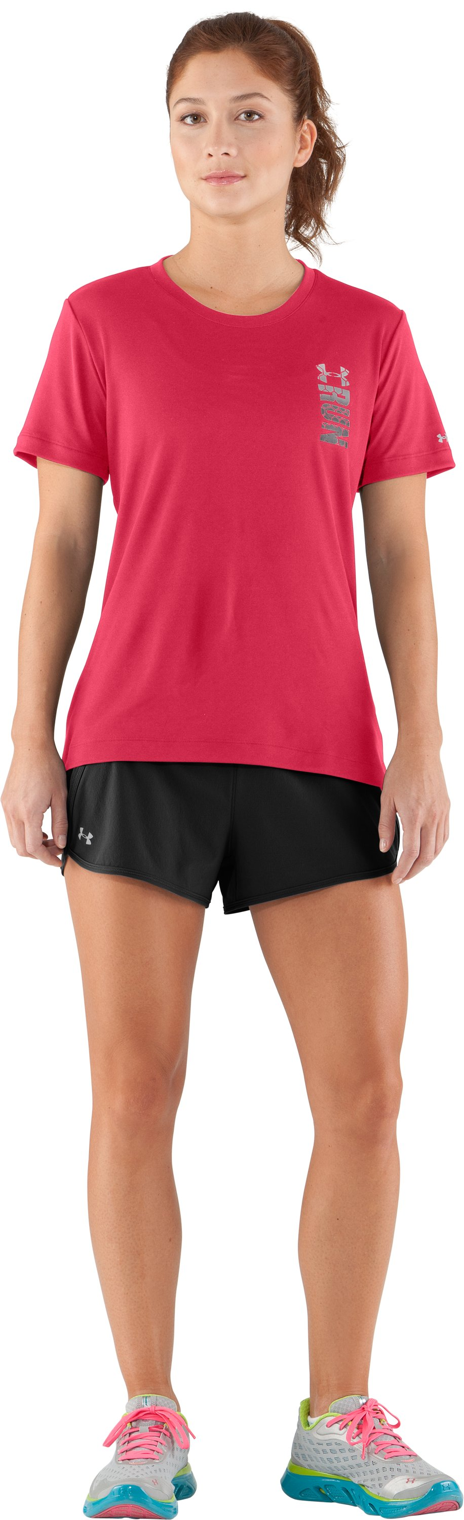 Women's UA Run To Train Graphic T-Shirt, Hibiscus, Front