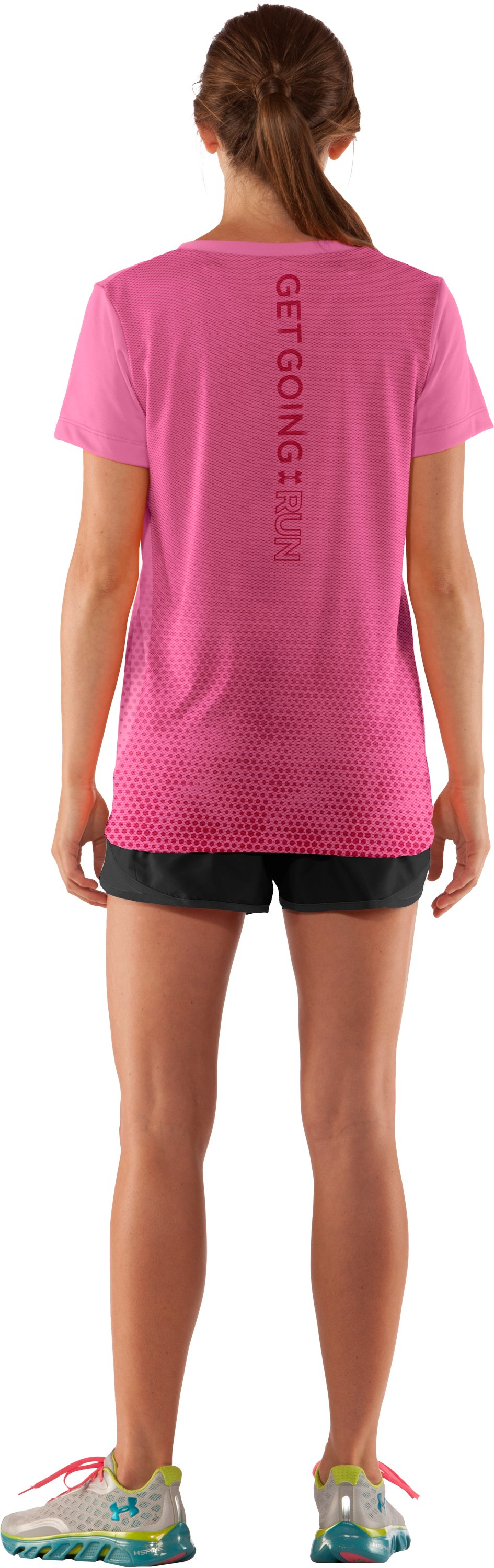 Women's Get Going V-Neck, Fluo Pink, Back