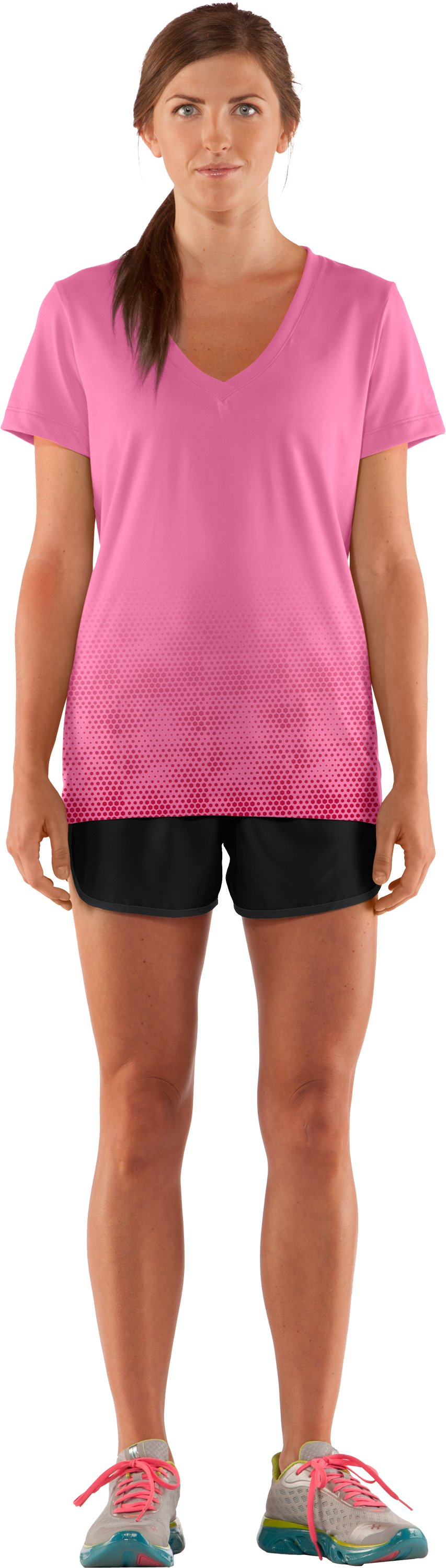 Women's Get Going V-Neck, Fluo Pink, Front