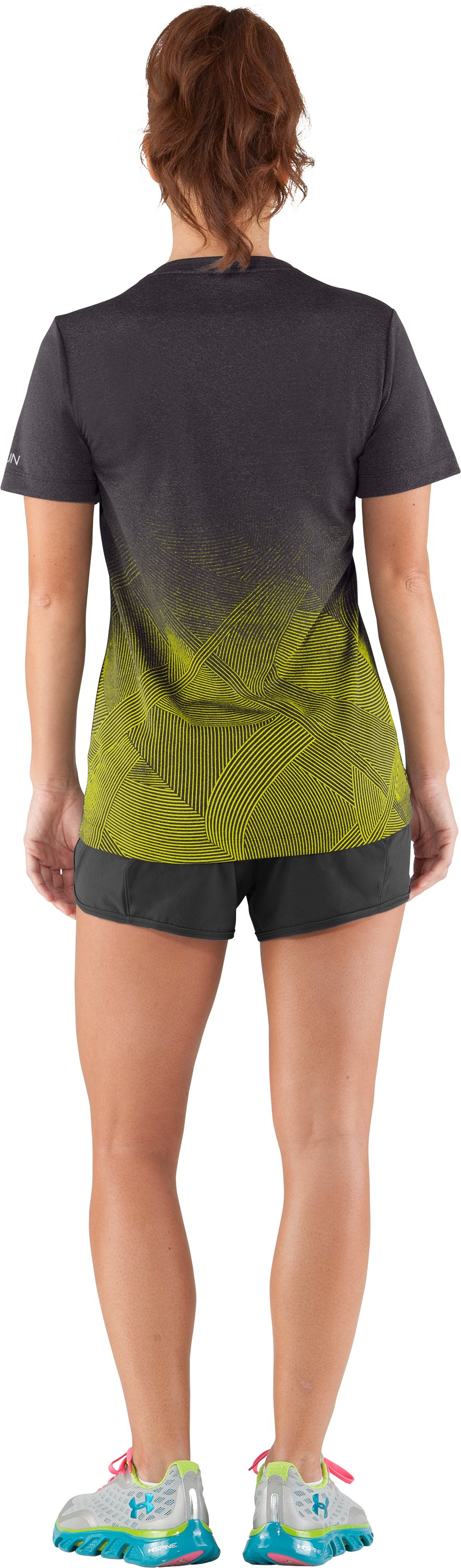 Women's UA Deco Print Gradient V-Neck, Carbon Heather, Back