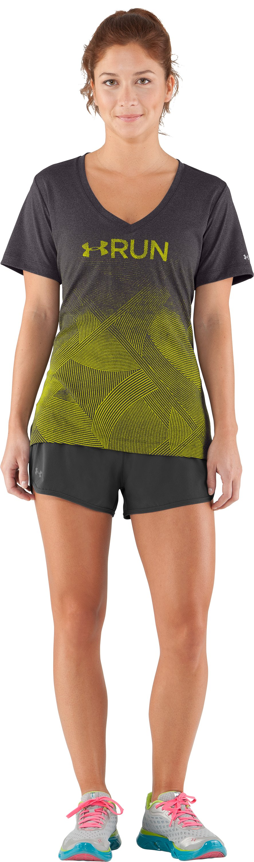 Women's UA Deco Print Gradient V-Neck, Carbon Heather, Front