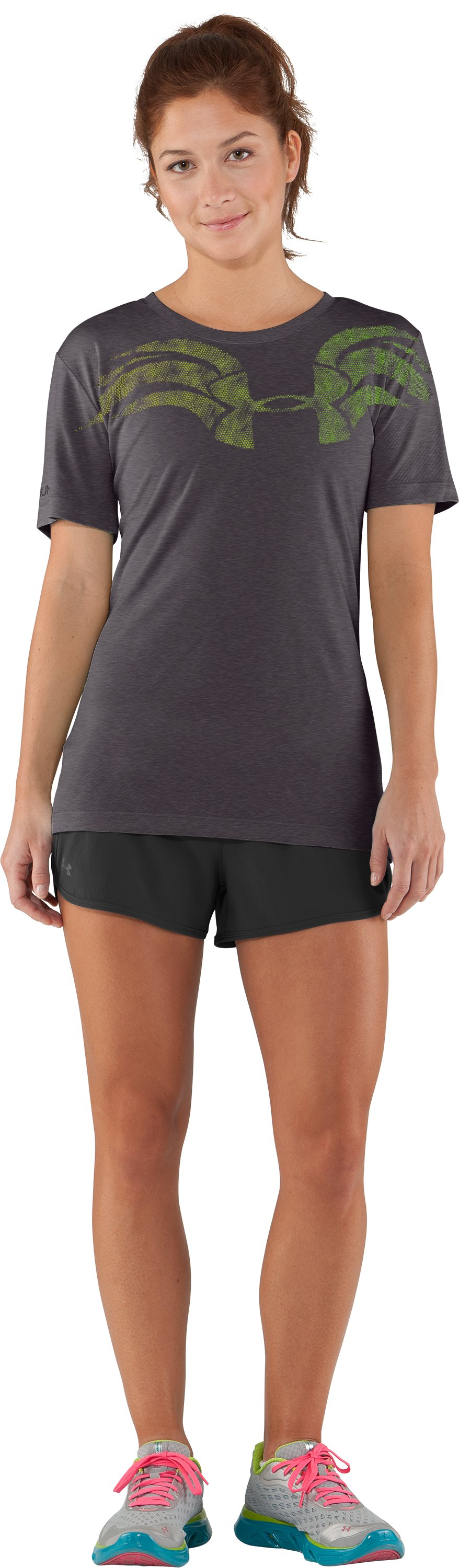 Women's UA We Run Mesh Short Sleeve, Carbon Heather, Front