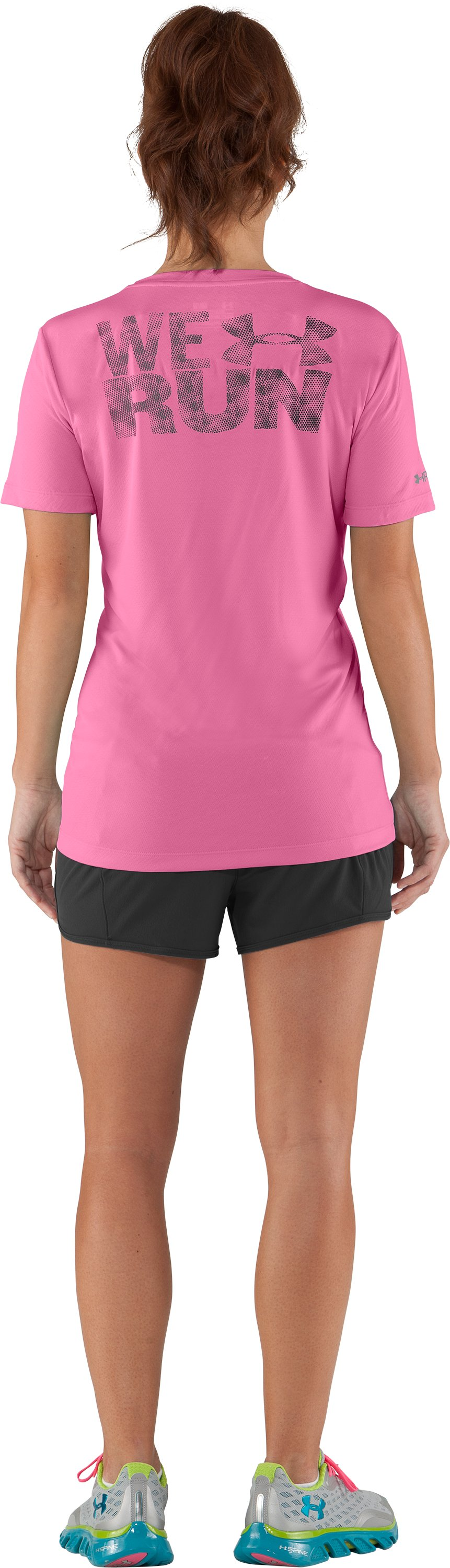 Women's UA We Run Mesh Short Sleeve, Fluo Pink, Back