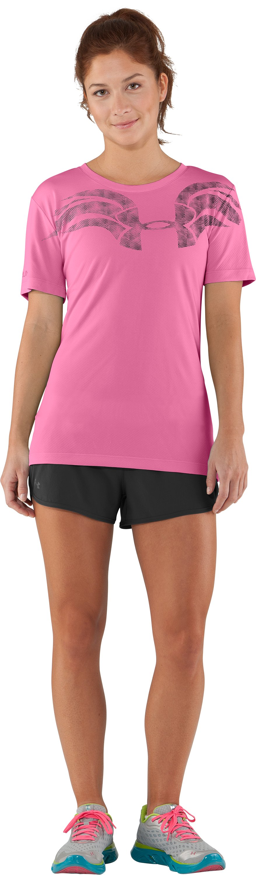 Women's UA We Run Mesh Short Sleeve, Fluo Pink, Front