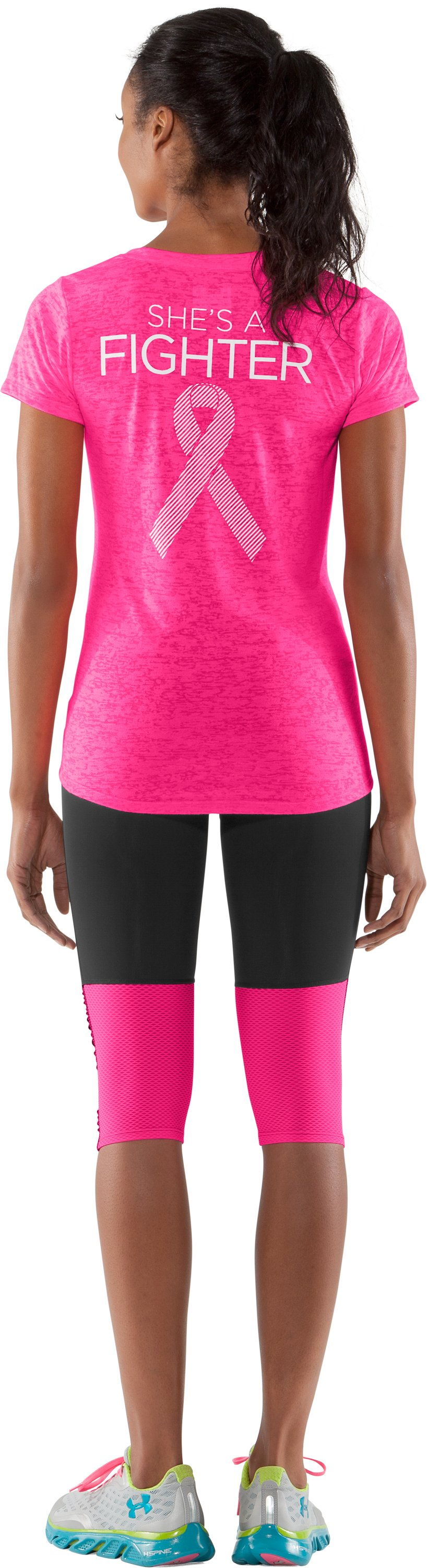 Women's UA PIP® Achieve Fighter V-Neck, Cerise, Back