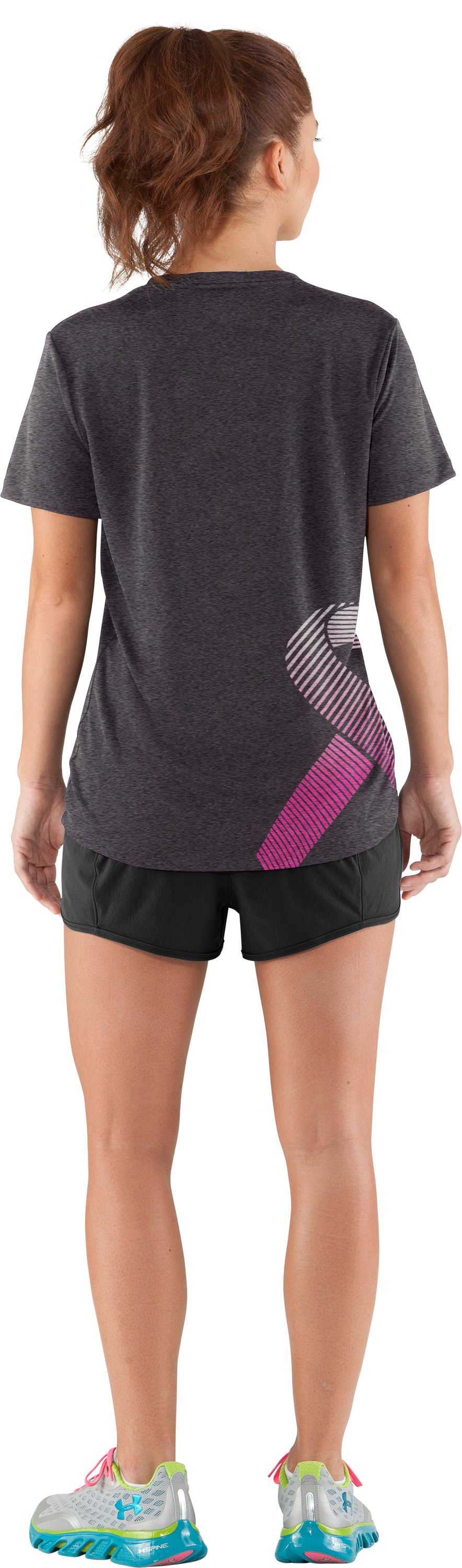 Women's UA PIP® Ribbon V-Neck, Carbon Heather, Back