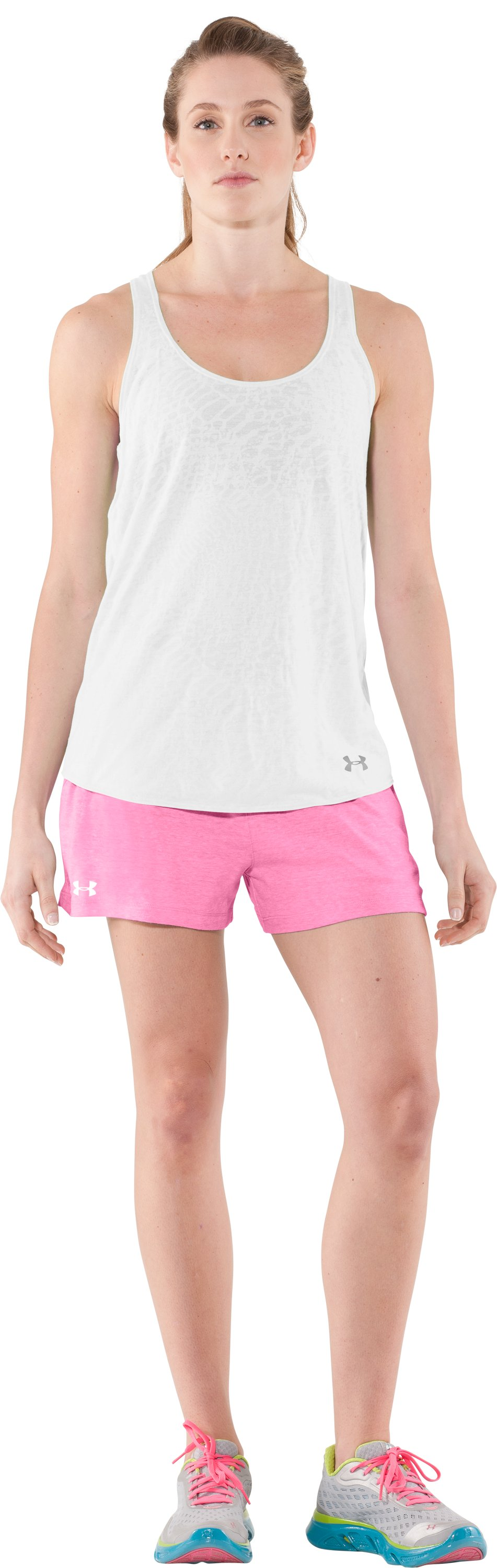 Women's Charged Cotton® Undeniable Shorts, Fluo Pink, Front