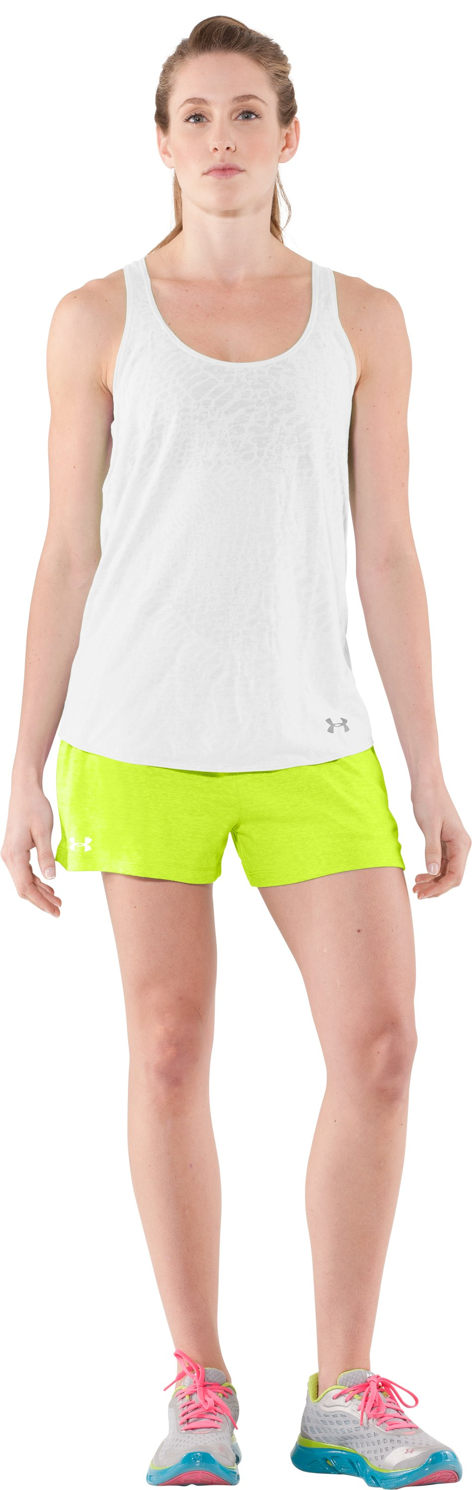 Women's Charged Cotton® Undeniable Shorts, High-Vis Yellow, Front
