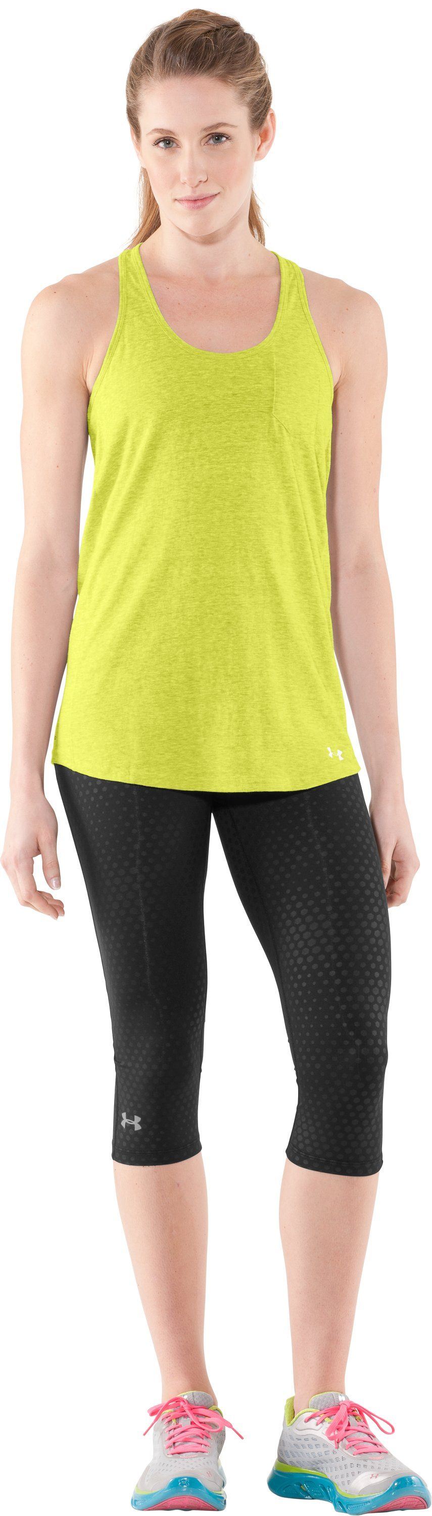 Women's Charged Cotton® Undeniable Tank, High-Vis Yellow, Front