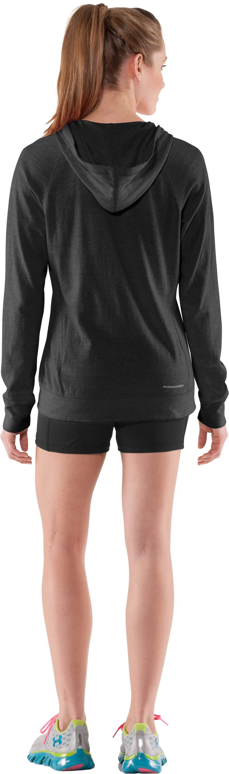Women's Charged Cotton® Full Zip Hoodie, Black , Back