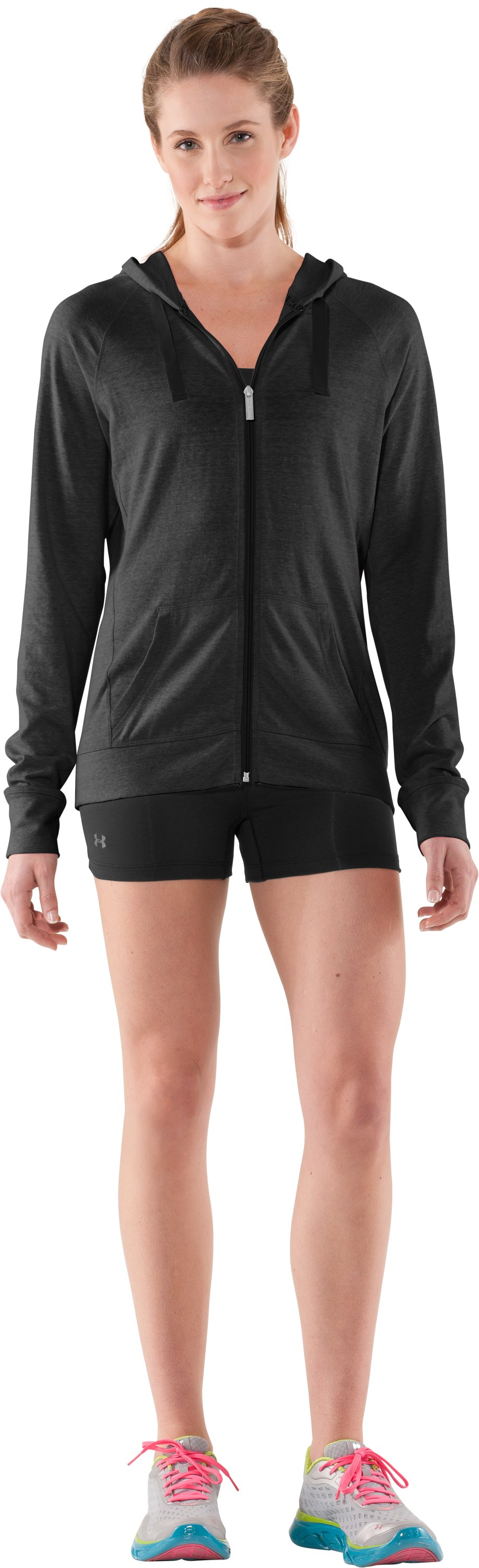 Women's Charged Cotton® Full Zip Hoodie, Black , Front