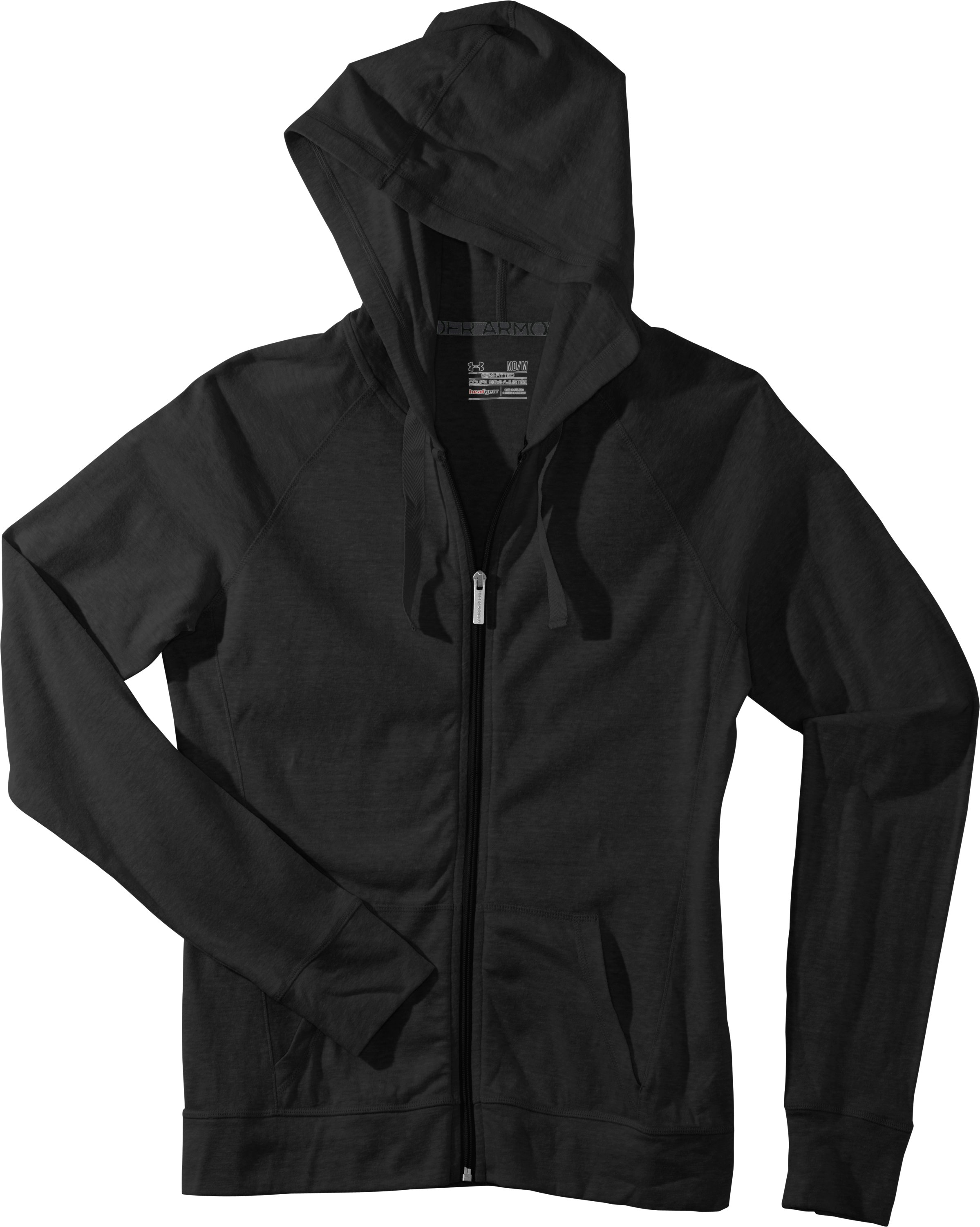 Women's Charged Cotton® Undeniable Full Zip Hoodie, Black , Laydown