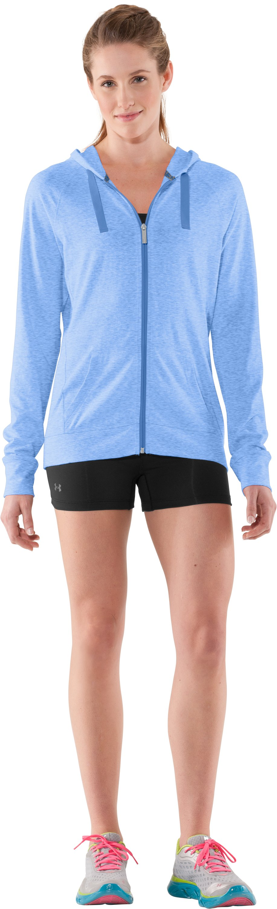 Women's Charged Cotton® Full Zip Hoodie, Water, Front