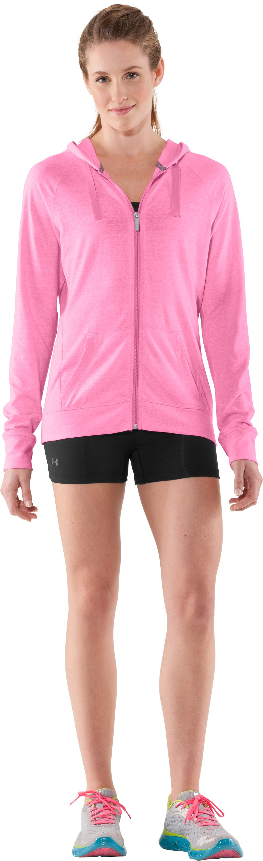 Women's Charged Cotton® Full Zip Hoodie, Fluo Pink, zoomed image
