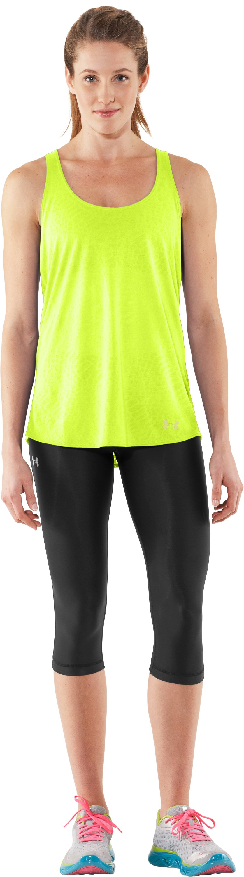 Women's UA Achieve Tank, High-Vis Yellow, Front