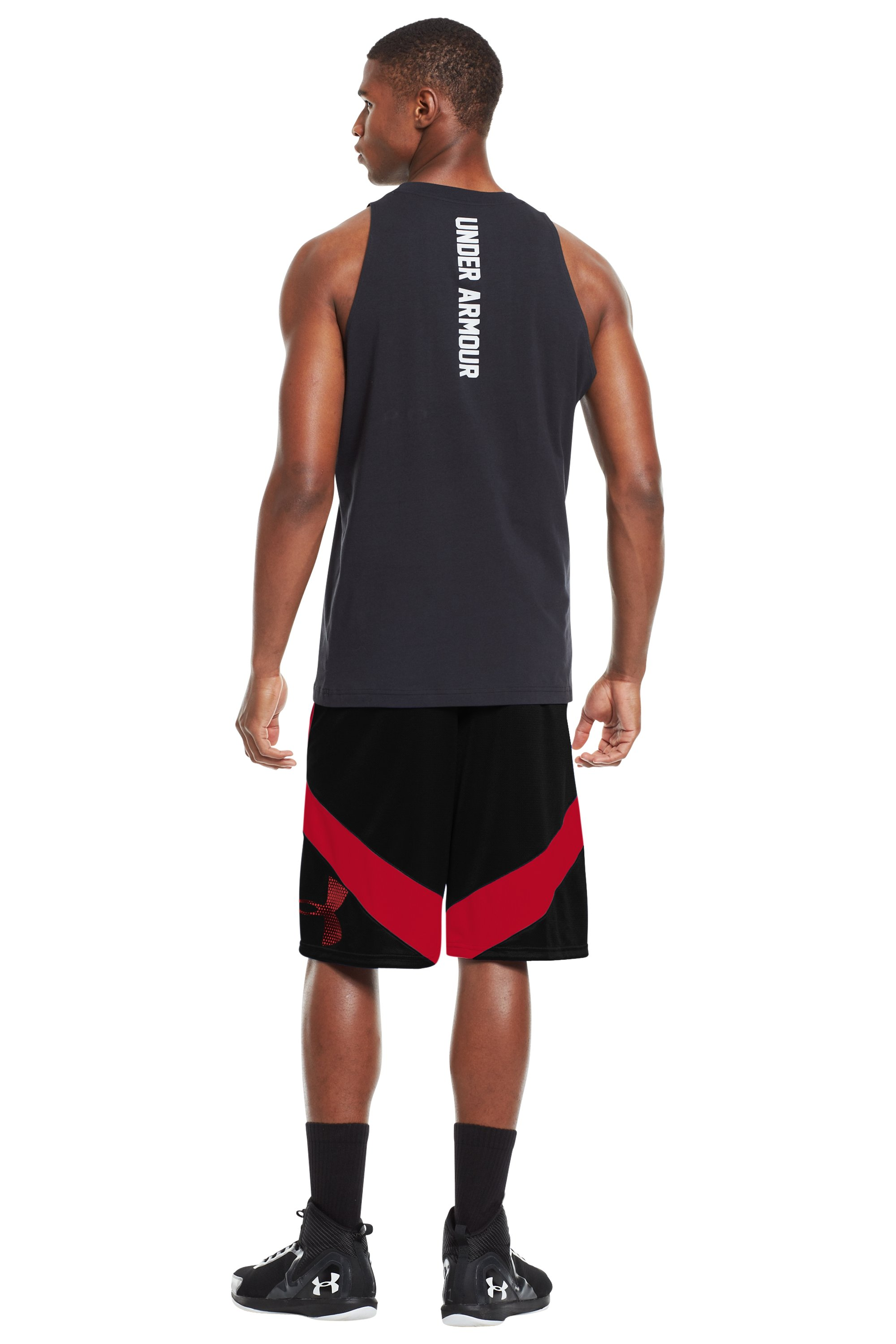 Men's UA EZ Mon-Knee Basketball Shorts, Black , Back