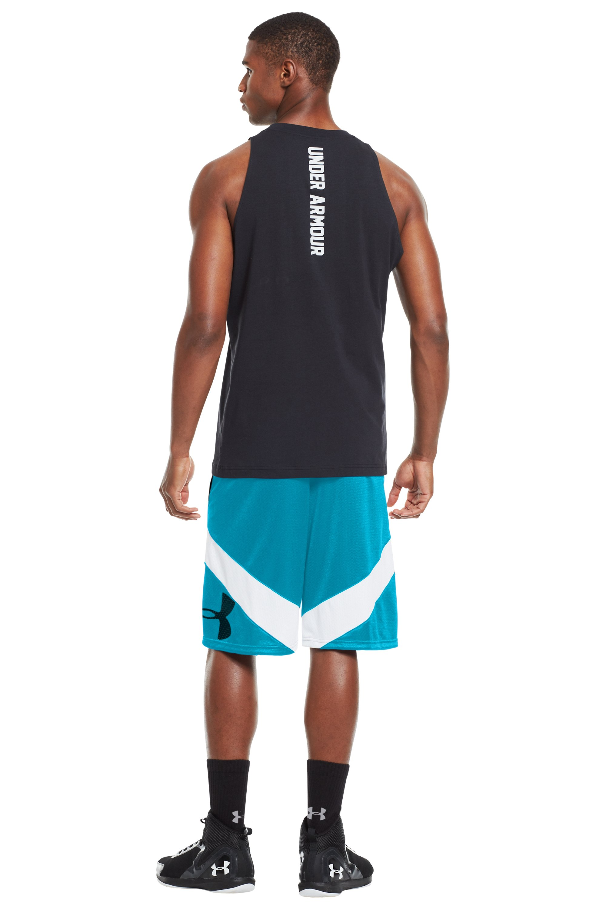 Men's UA EZ Mon-Knee Basketball Shorts, PIRATE BLUE, Back
