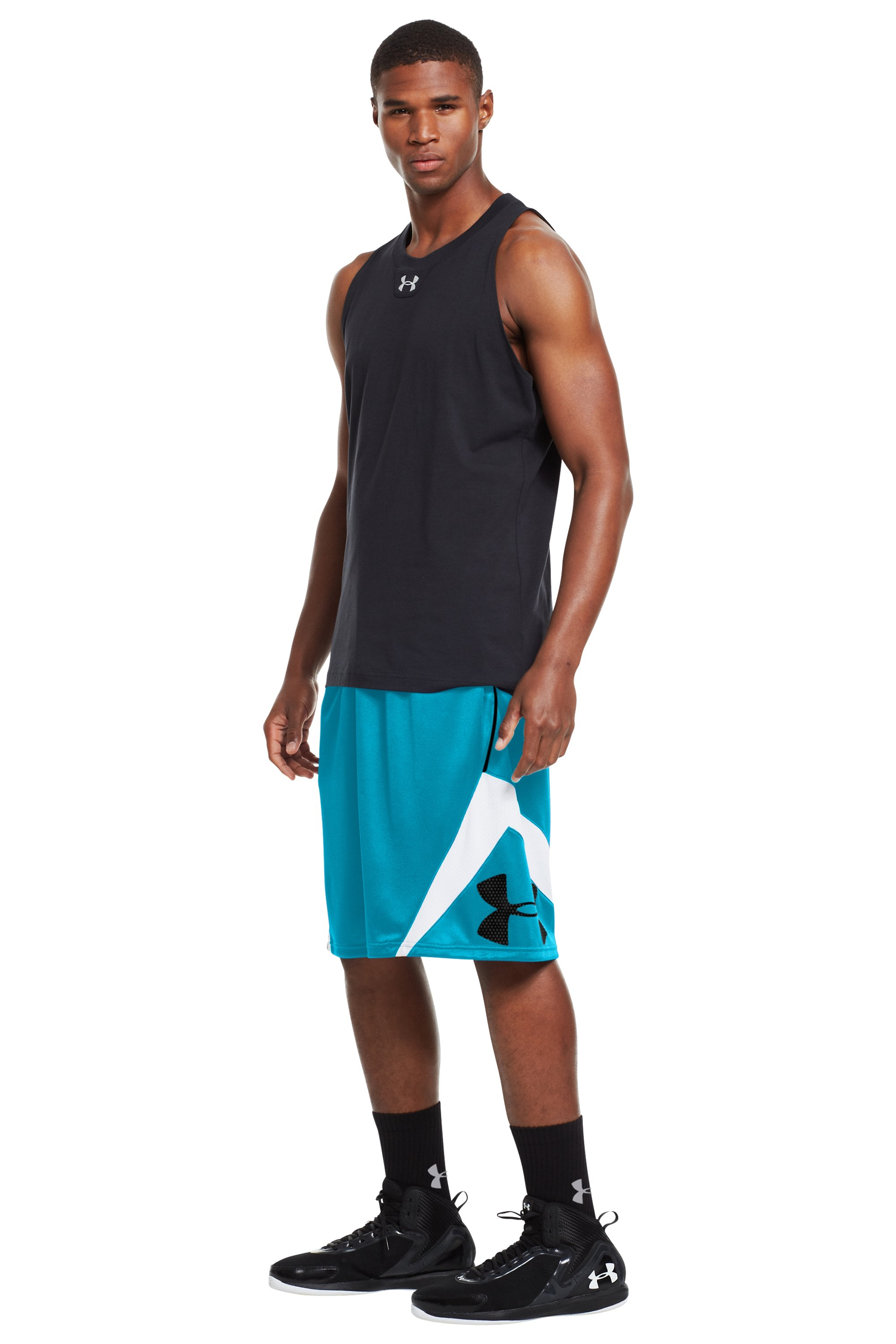 Men's UA EZ Mon-Knee Basketball Shorts, PIRATE BLUE, zoomed image