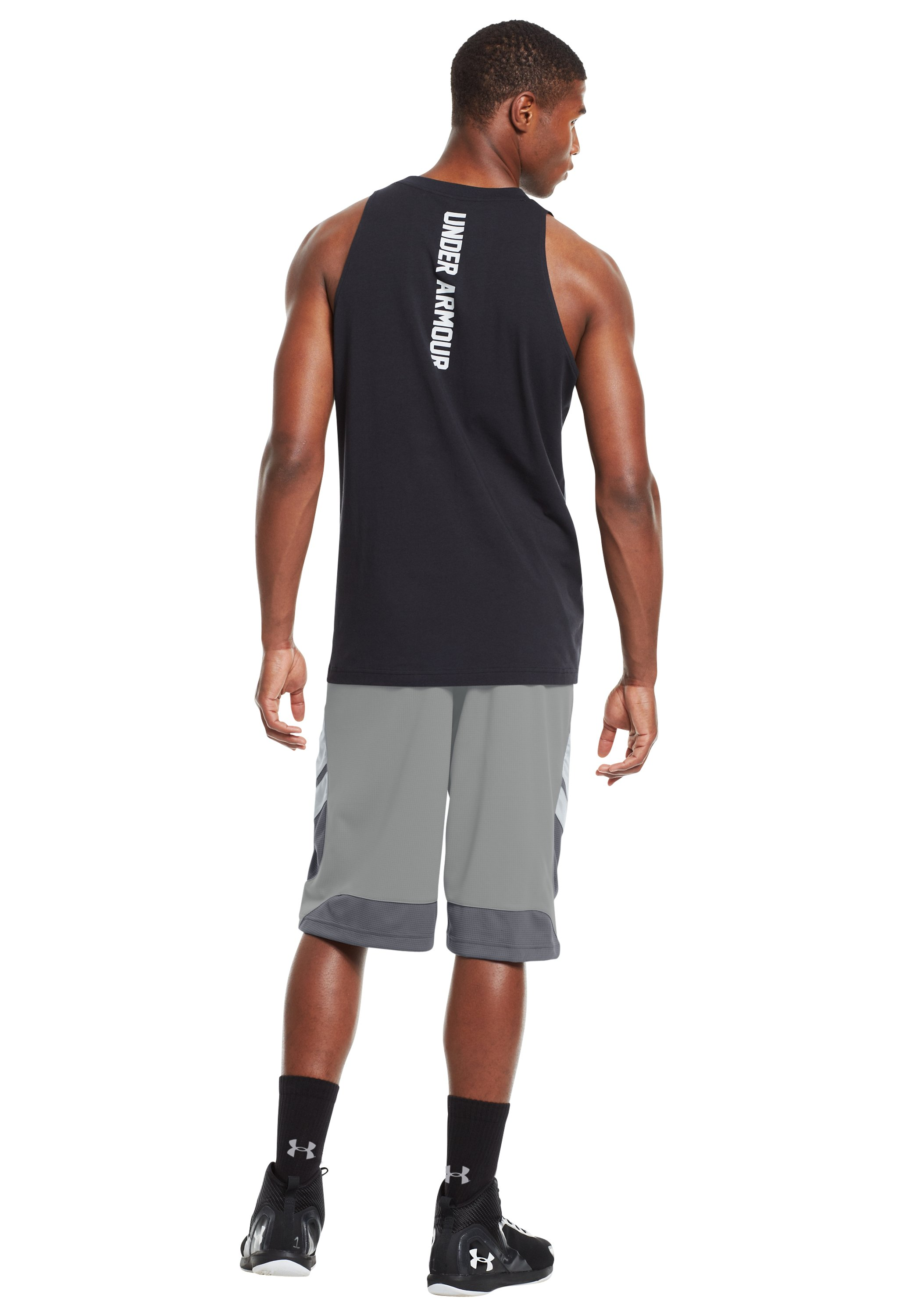 "Men's UA Hova 12"" Shorts, Concrete, Back"