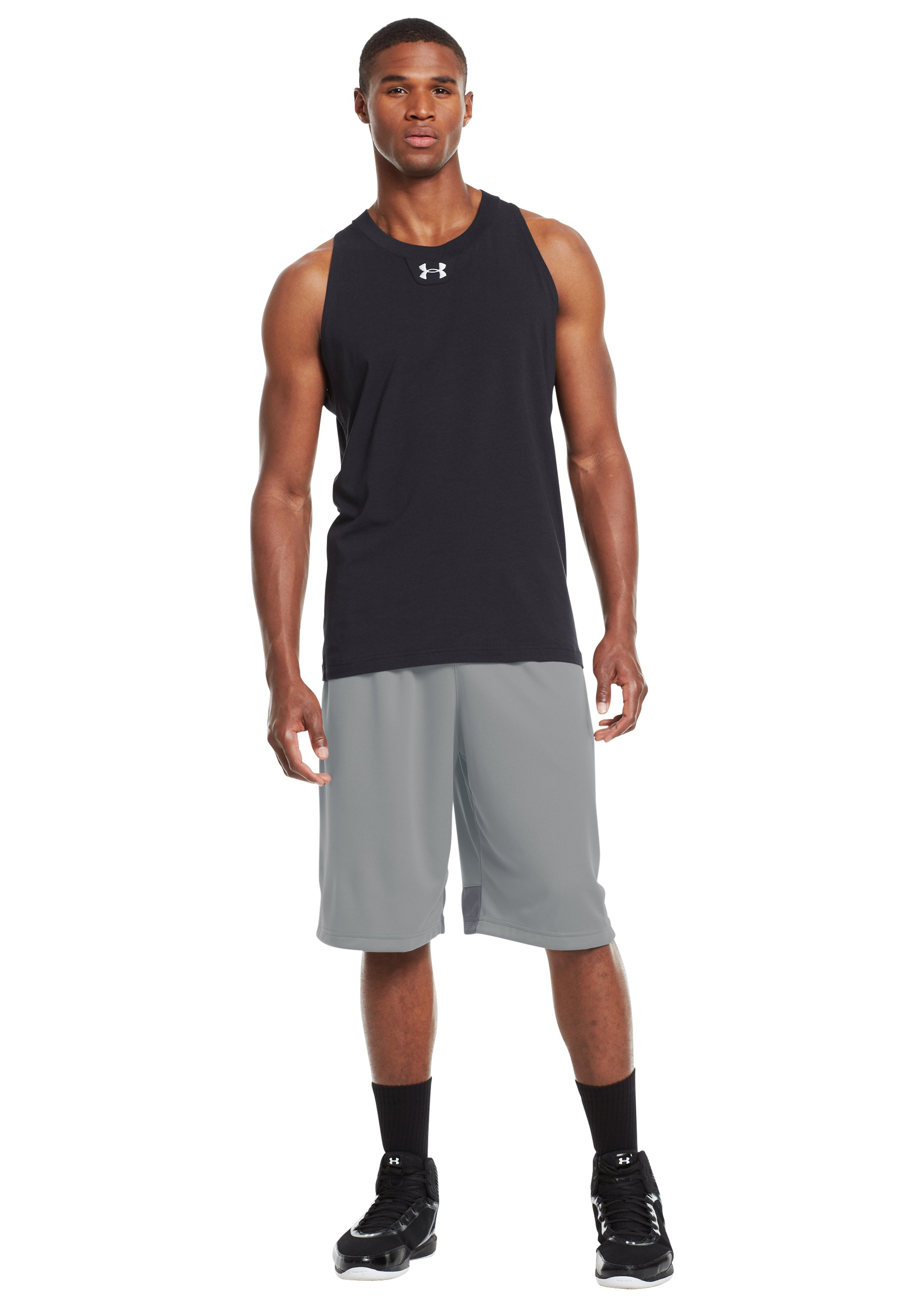 "Men's UA Hova 12"" Shorts, Concrete, Front"