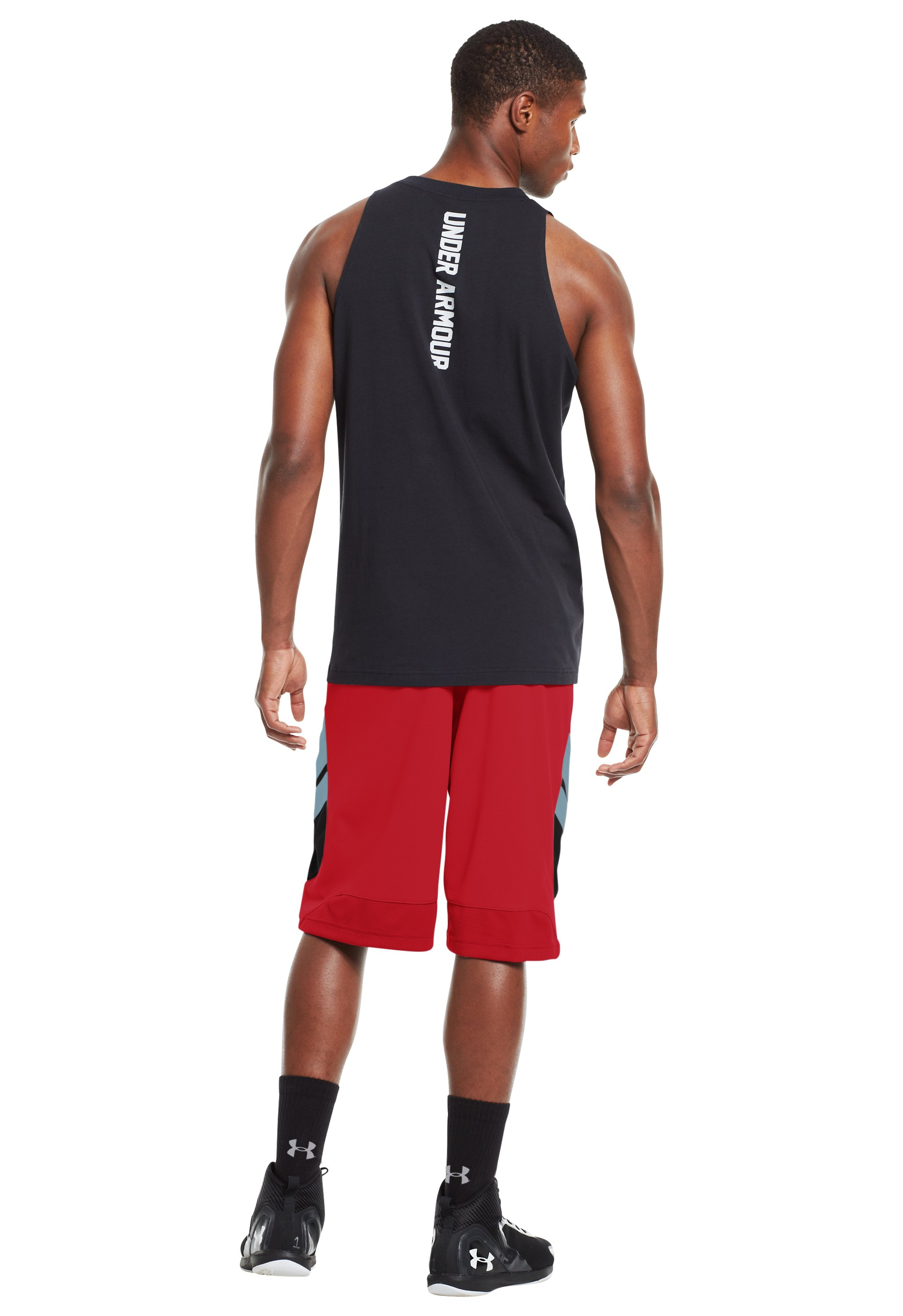 "Men's UA Hova 12"" Shorts, Red, Back"