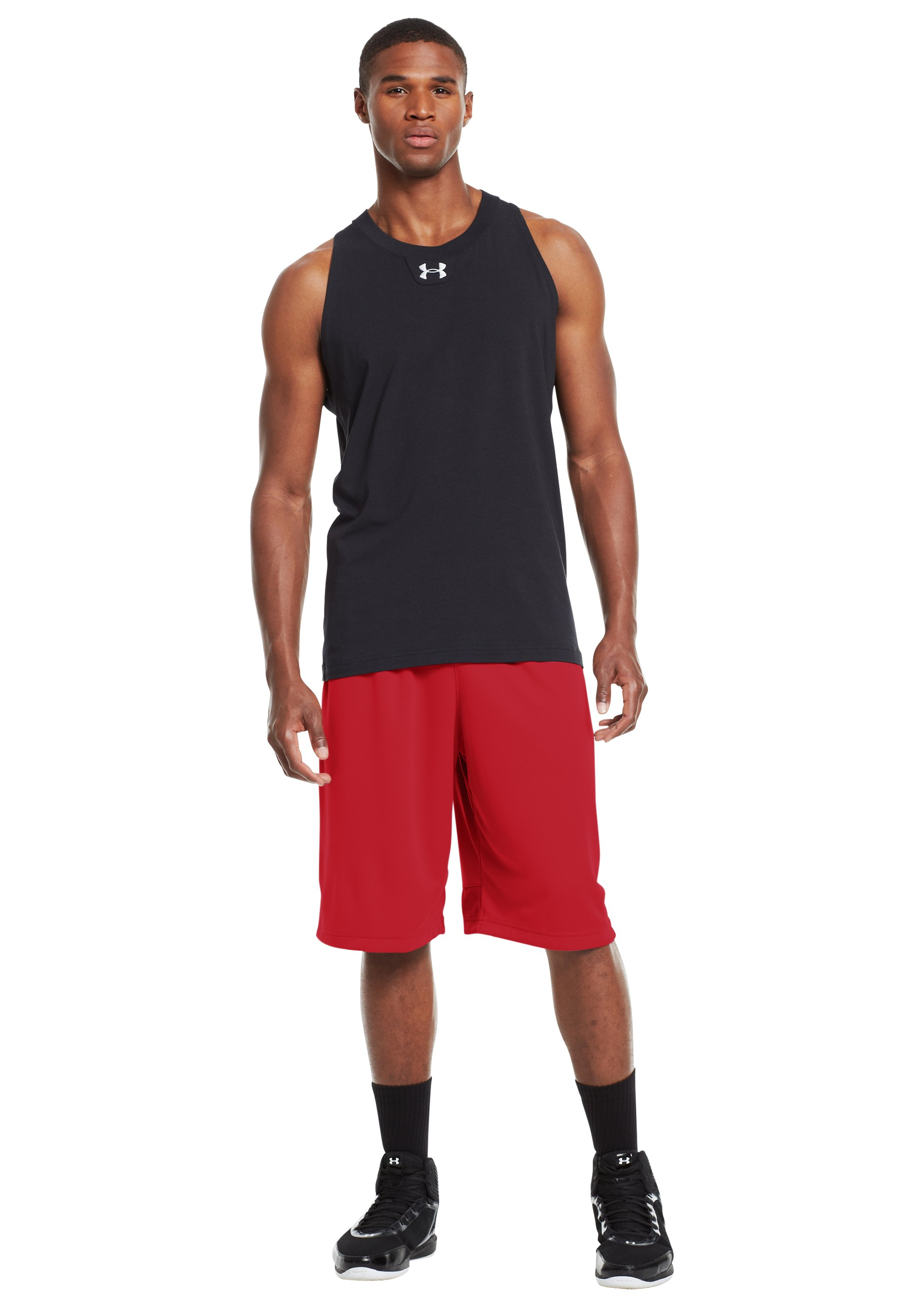 "Men's UA Hova 12"" Shorts, Red, Front"