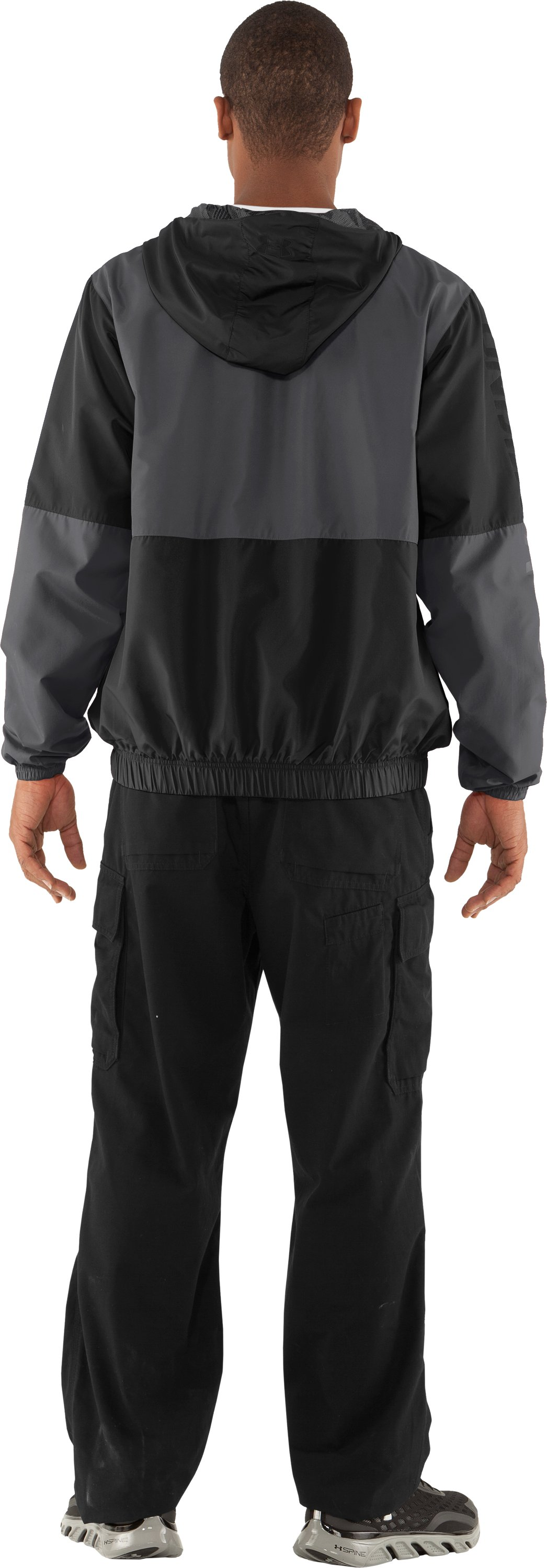Men's UA Acoustic Windbreaker, Black , Back