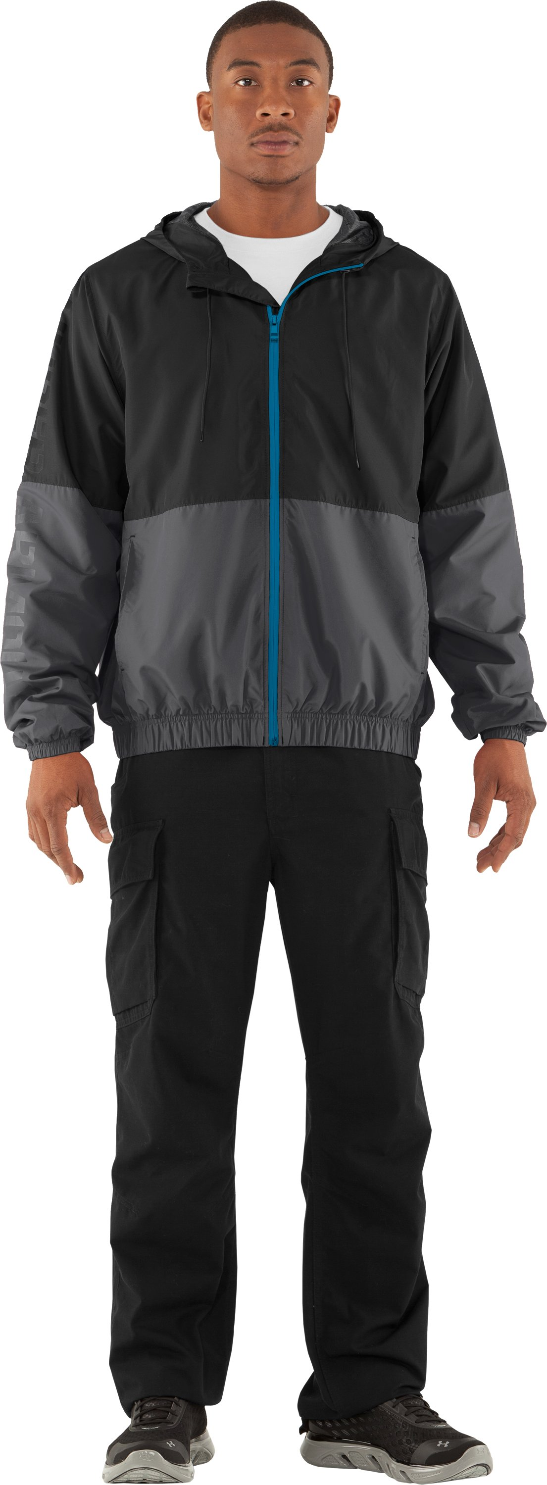 Men's UA Acoustic Windbreaker, Black , Front